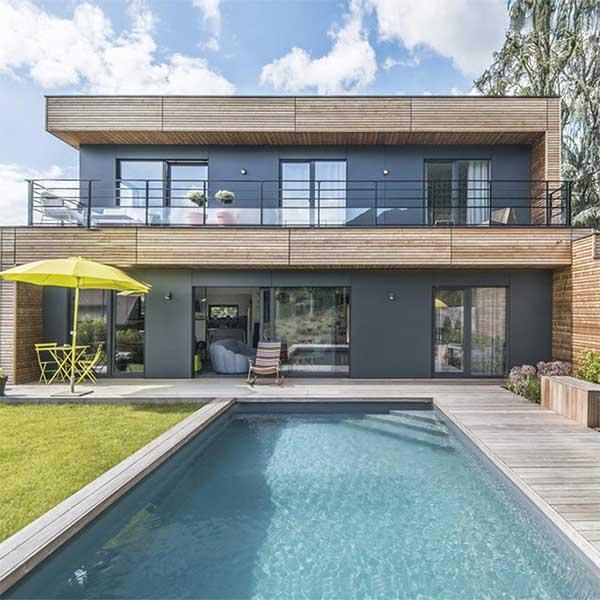 Maison bois piscine